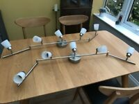 Pair of modern Ikea ceiling lights with 5 directional spots, bulbs included