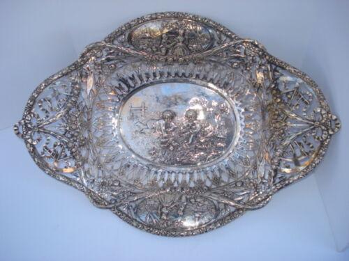 "Hanau - 19th Century German Silver Pierce Work  Basket "" Display Silver """