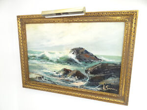 Vintage-1968-Hand-Signed-Large-Ocean-Seascape-Waves-Beach-Oil-Painting-on-Canvas