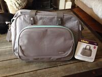 Brand new with tags changing bag Beaba mint/grey