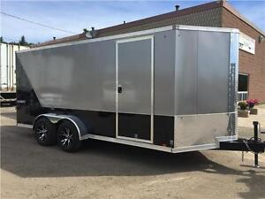 7x16 PACE BULL NOSE TANDEM AXLE, SCREWLESS SIDES,INC HEIGHT-RAMP