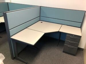 "Teknion 5'x5'x51""H Slightly Used Workstations Charcoal Trim"
