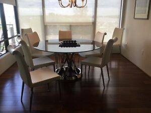 Contemporary Glass Top Dining Table and 8 Chairs