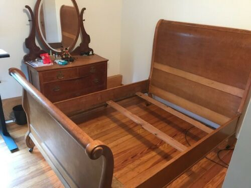 Antique Birds eye Maple Sleigh Bed - Dresser - 2  Cane Chairs