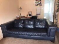 Sofa . Dark blue leather.