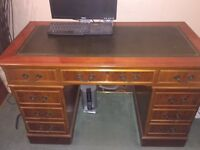 YEW WOOD REPRODUCTION DESK with Green Leather Writing Skiver & Swan Neck Handles