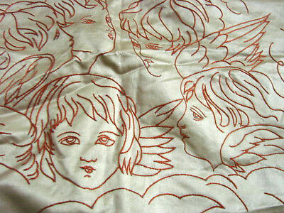 Vintage Antique Edwardian Bedspread Embroidered ANGELS Satin 2 pc LACE