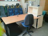 Office desk with it's own power strip & chair and 2 filing cabinets (many available)