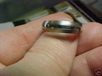 Mens Platinum & Titanium  6 Mm  Modern Ring  Size 9 New