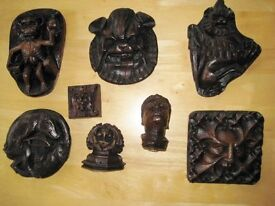 Eight Hand Crafted Wooden Fruitwood Medieval Plaques. £55.00 ono