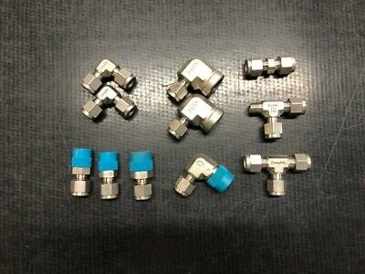 Swagelok Stainless Steel Compression Fittings - 14 Lot Of 11