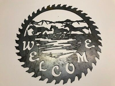 Art Welcome Sign - Metal wall art- saw blade welcome sign with horse 14