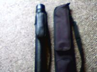 2 NEW SNOOKER CASE. BOTH BLACK SHOULDER CASE, A TUBE WITH ZIP POCKET, OTHER CASE HAS 2 ZIP POCKETS.