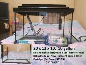 10 Gallon Tank with Lid and Light