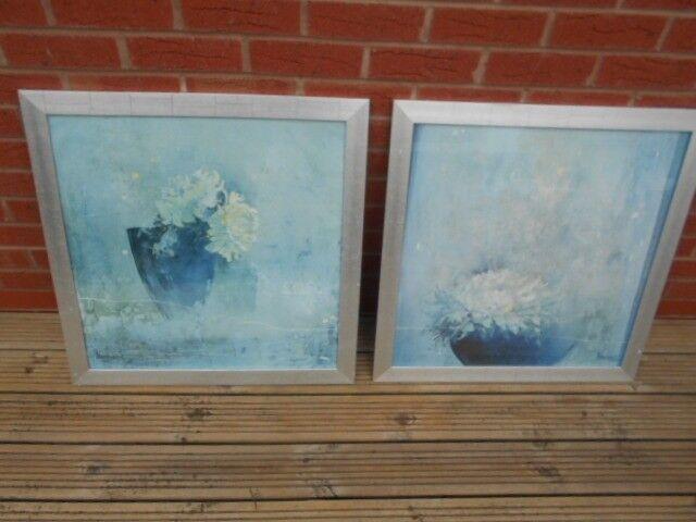 Silver Framed Prints Large Set Of 2 Bowls Of Flowers In