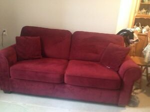 Burgundy  Micro Fiber Couch like new