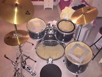 Acoustic drum kit - Stagg, complete with sound pads, stool, spares