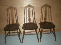 Three Beautiful Wooden Chairs Antique