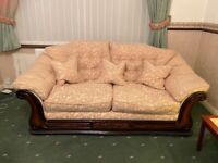 Peach Jacquard and dark wood framed 2 and 3 seater sofas