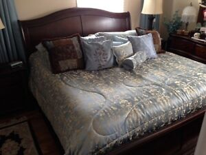 King Sleigh Bed, headboard, mattress, box springs