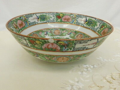 CHINESE CANTON FAMILLE ROSE CHINA FOOTED SERVING BOWL BUTTERFLY ANTIQUE