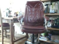 High back office chair red faux leather