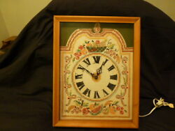 VINTAGE WALL CLOCK WOOD GLASS MID CENTURY LARGE KITCHEN EMBROIDERED FRUIT BASKET