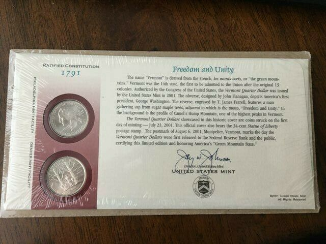 BNIP UNITED STATES MINT FIRST DAY COVER 2001 VERMONT STATE QUARTER COIN SET - $10.00