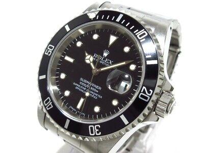 Auth ROLEX Submariner Date 16610 Black T671429 Men