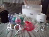 Tommee tippee Steriliser and bottle warmer with lots of bottles and other accessories
