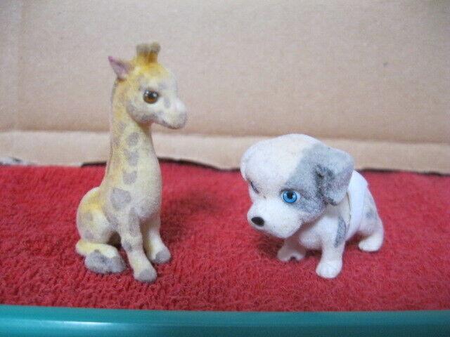Figurine lot de 2 petits animaux en feutrine vintage