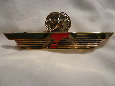 Donald J. TRUMP AIRLINE Obsolete PILOT WING w/ STAR METAL GOLD RED ORIGINAL L@@K