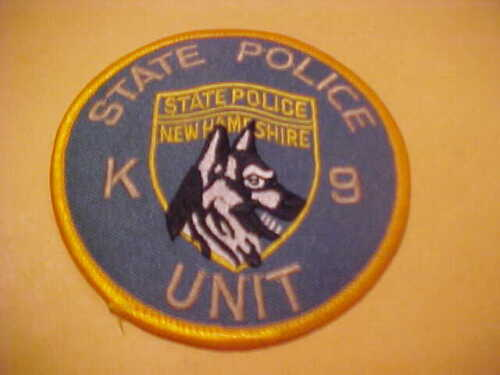 NEW HAMPSHIRE STATE POLICE K-9 POLICE PATCH SHOULDER SIZE UNUSED 3.5 X 3.5 GREEN