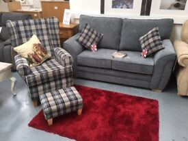 BRAND NEW 2 seat sofa with wing backed armchair set, £825.