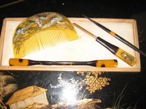 Japanese Antique Kanzashi Raden Comb with Cranes, Kogai Hairpin & Pick