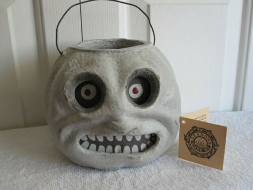 Vintage Style Seasons Gone By Ghoul Ghost Paper Mache Candy Bucket / Lantern