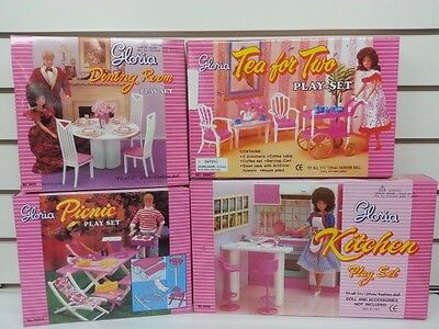 Gloria Doll House Furniture/4 Set of Dining, Tea for Two, Picnic & Kitchen