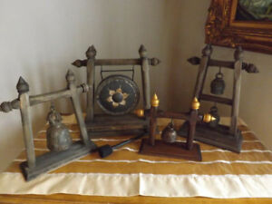 VINTAGE RARE WOOD ART CARVED GONG & TIBETAN BELL. THE GONG IN AN