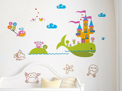 Wandtattoo Aquarium Wal Burg Wandsticker Wandaufkleber Kinderzimmer Deko Cartoon