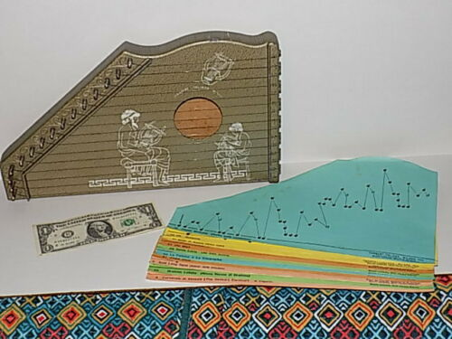 Vintage 1960s Harbert Italiano Milano Junior Zither Music Instrument Box Harp