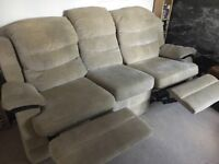 3 seater beige 'lazy boy style' recliner sofa