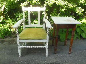 Vintage chair, tall side table, desk with lift-top & 3 drawers