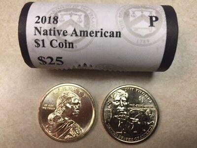 Used, ~H/T~ 2018 P BU SACAGAWEA / JIM THORPE NATIVE AMERICAN GOLD $25 DOLLAR ROLL for sale  Levelland
