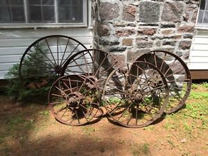antique metal tractor wheels