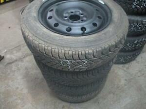 205/60 R16 GOODYEAR WINTER TIRES ON MULTI-FIT RIMS USED SNOW TIRES (SET OF 4 - $460.00) - APPROX. 85% TREAD