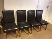 4 Brown Leather Dining Chairs. Originally from Next. In great condition.