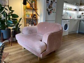 MADE Vintage Pink Velvet Gracie Armchair