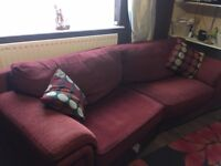 Red large 2 seater/3 seater sofa with armchair