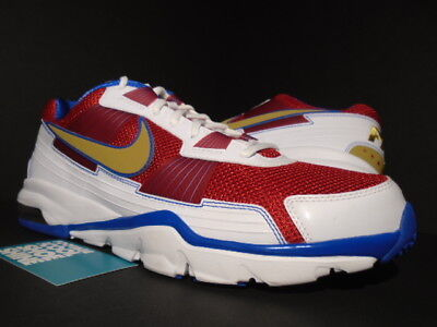 NIKE AIR TRAINER SC 2010 LOW MANNY PACQUIAO 1 WHITE GOLD RED BLUE 407846-176 9.5 for sale  Shipping to Canada