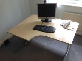 Desk - beech effect ergonomic curved front